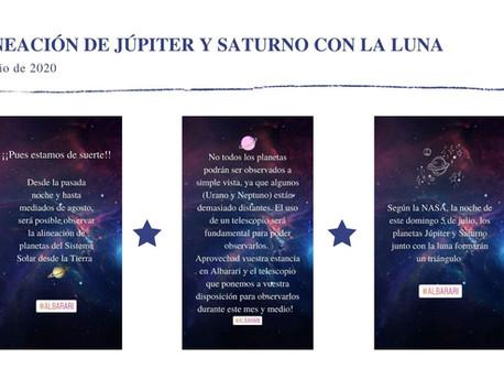 ALINEACIÓN DE JÚPITER Y SATURNO CON LA LUNA (5 de julio de 2020)