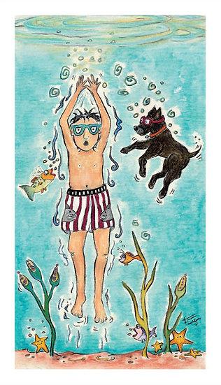 Summer Swim (Giclee Print, Prof. Framed/no mat)