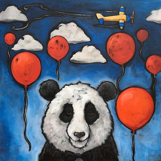 Panda &The Red Balloons (Original Acrylic)