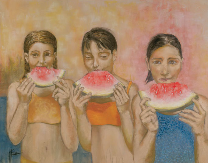 Watermelon Girls (Giclee Print, Framed&Matted)