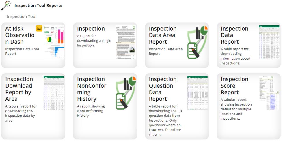 Inspection Report Menu