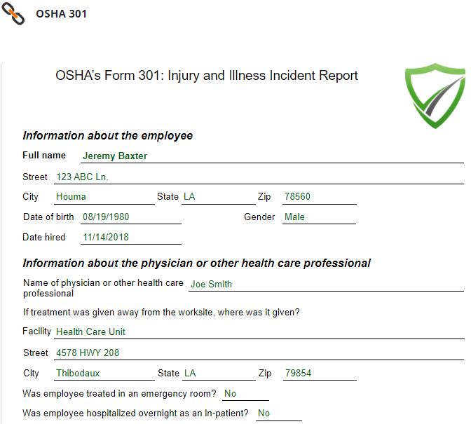 OSHA 301 Form