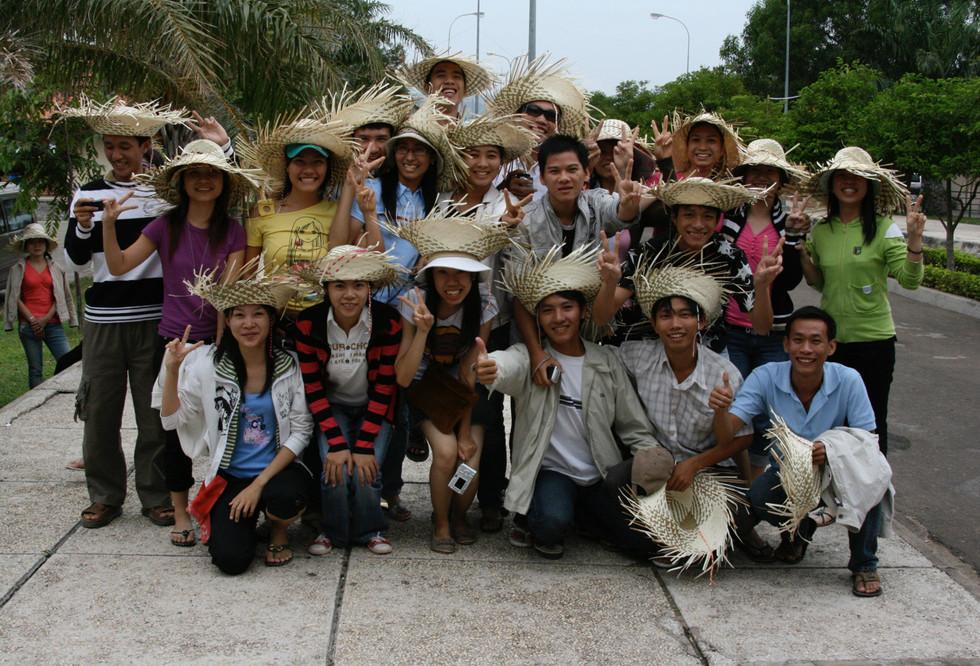 Kids wearing hats