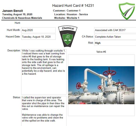 Hazard Hunt Observation Record