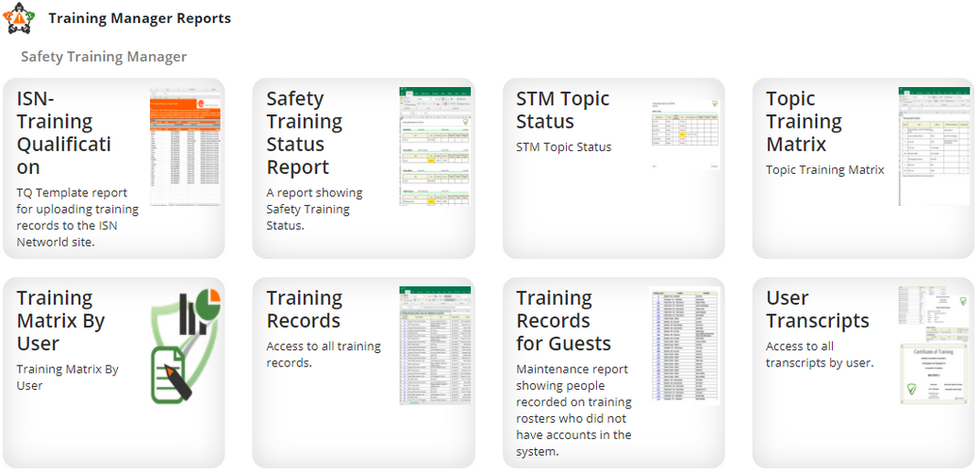 Training Manager Reports
