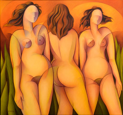 The Three Graces, 71 x 76 cm, oil on can