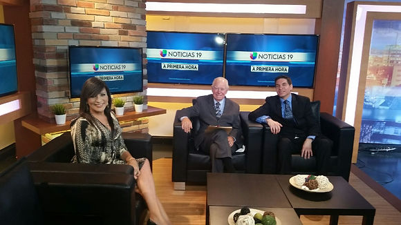 Picture of sacramento employment lawyer George Acero at Univision with retired Supreme Court Justice Cruz Reynoso