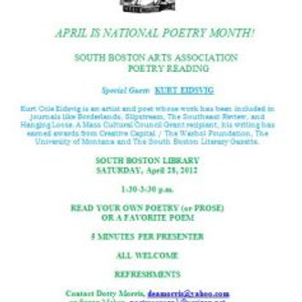 National Poetry Month Reading for South Boston Arts Association