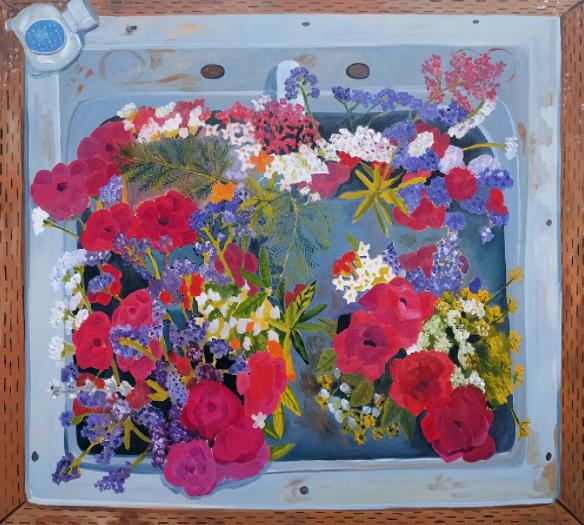 Farm Sink with Flowers