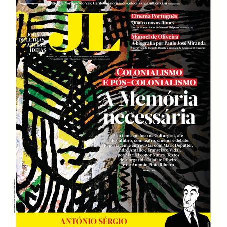 Jornal de Letras 1278 de 25 de Setembro a 8 de Outubro de 2019 artigo de Margarida Calafate Ribeiro