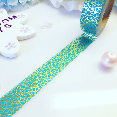 Turquoise Gold Foil Crackle Washi Tape