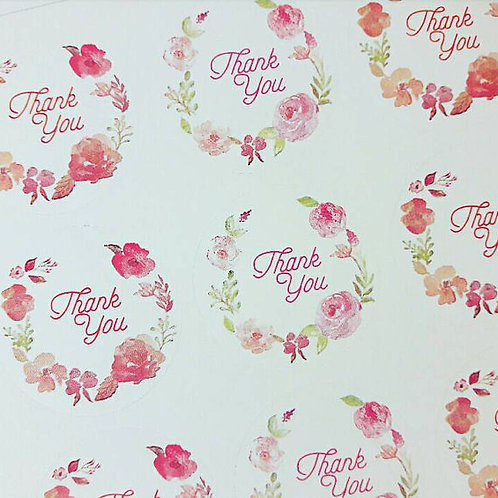 Thank You Floral Stickers