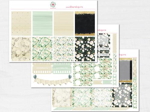 Fall Floral Glitter Kit - Fall EC Weekly Kit - Planner Stickers