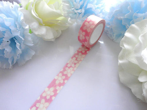 White Blossom Flowers Pink Washi Tape