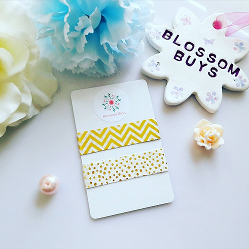 Gold Foil Chevron Polka Dot Washi Sample