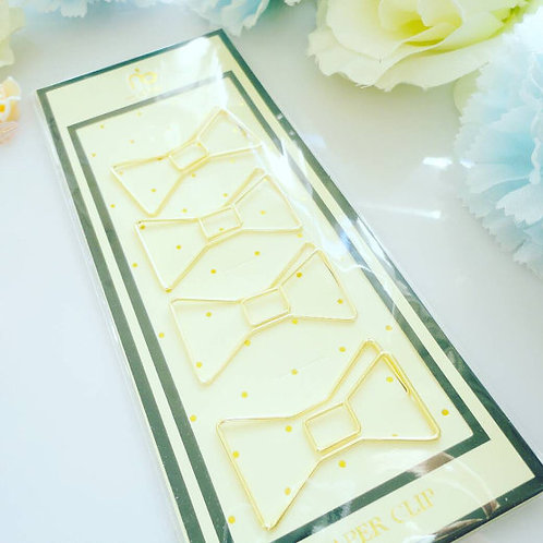 Gold Bow Paper Clips Set