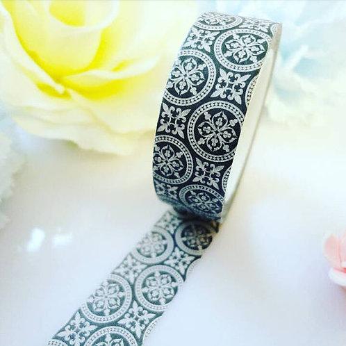 Black Silver Mandala Circle Washi Tape