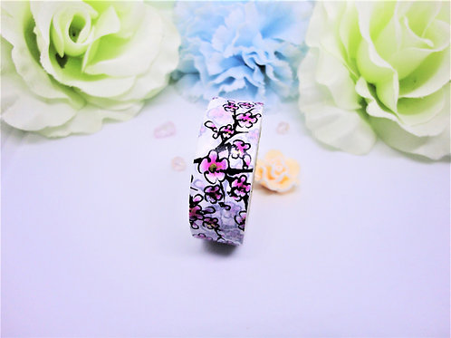 Pink and Black Blossom Washi Tape