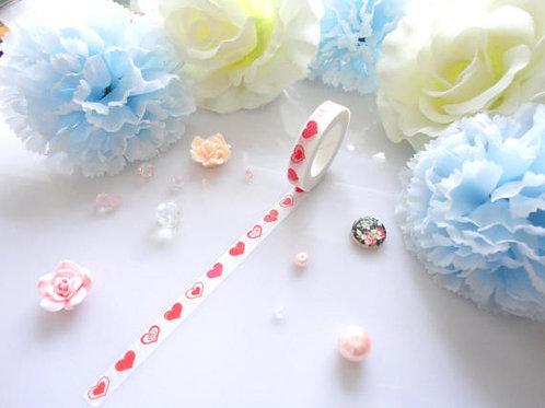 Red Love Hearts Washi Tape