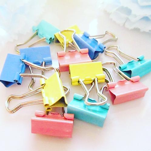 Mini Pastel Binder Clips- Set of 12