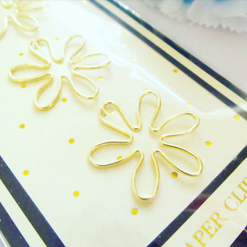 Flower Gold Paper Clips- 6 Petals