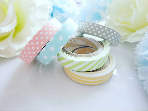 Pastel Polka Stripes Washi Tape Set