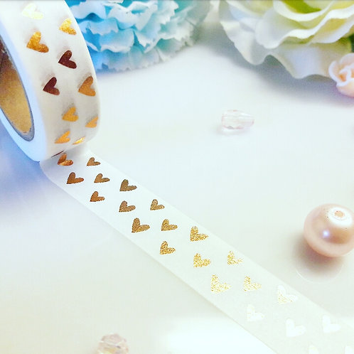 Rose Gold Hearts Foil Washi Tape