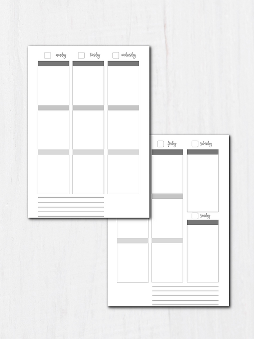 Vertical Weekly Binder Planner Inserts - A5 - Fit EC Stickers