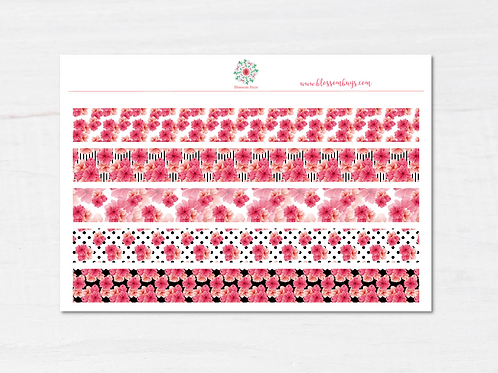 Pink Black Blossom Washi Sticker Sheet