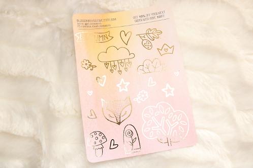 Fall Fox Decor Sticker Sheet