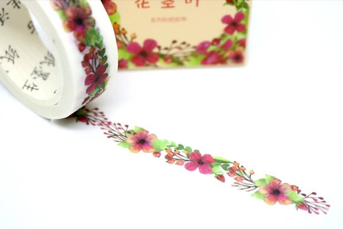 Red Winter Flowers Washi Tape