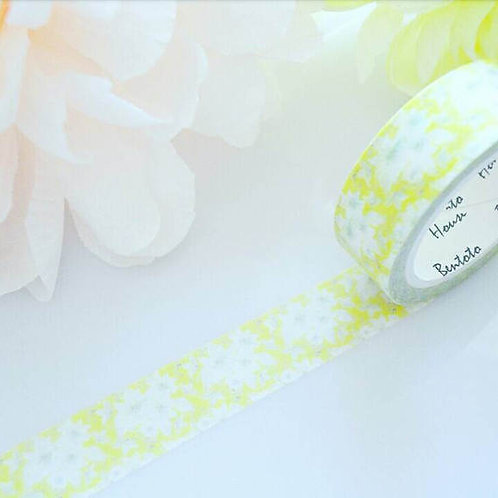 White Yellow Flowers Washi Tape