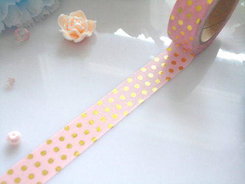 Foil Polka Dot Washi Tape-Pink, Mint, Yellow