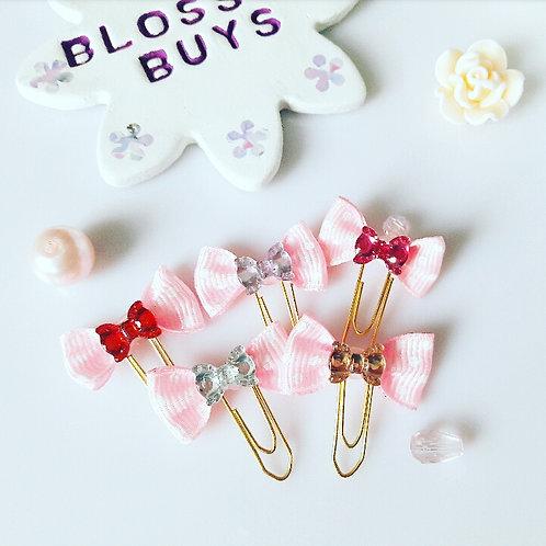 Pink Polka Dot Bow Clips