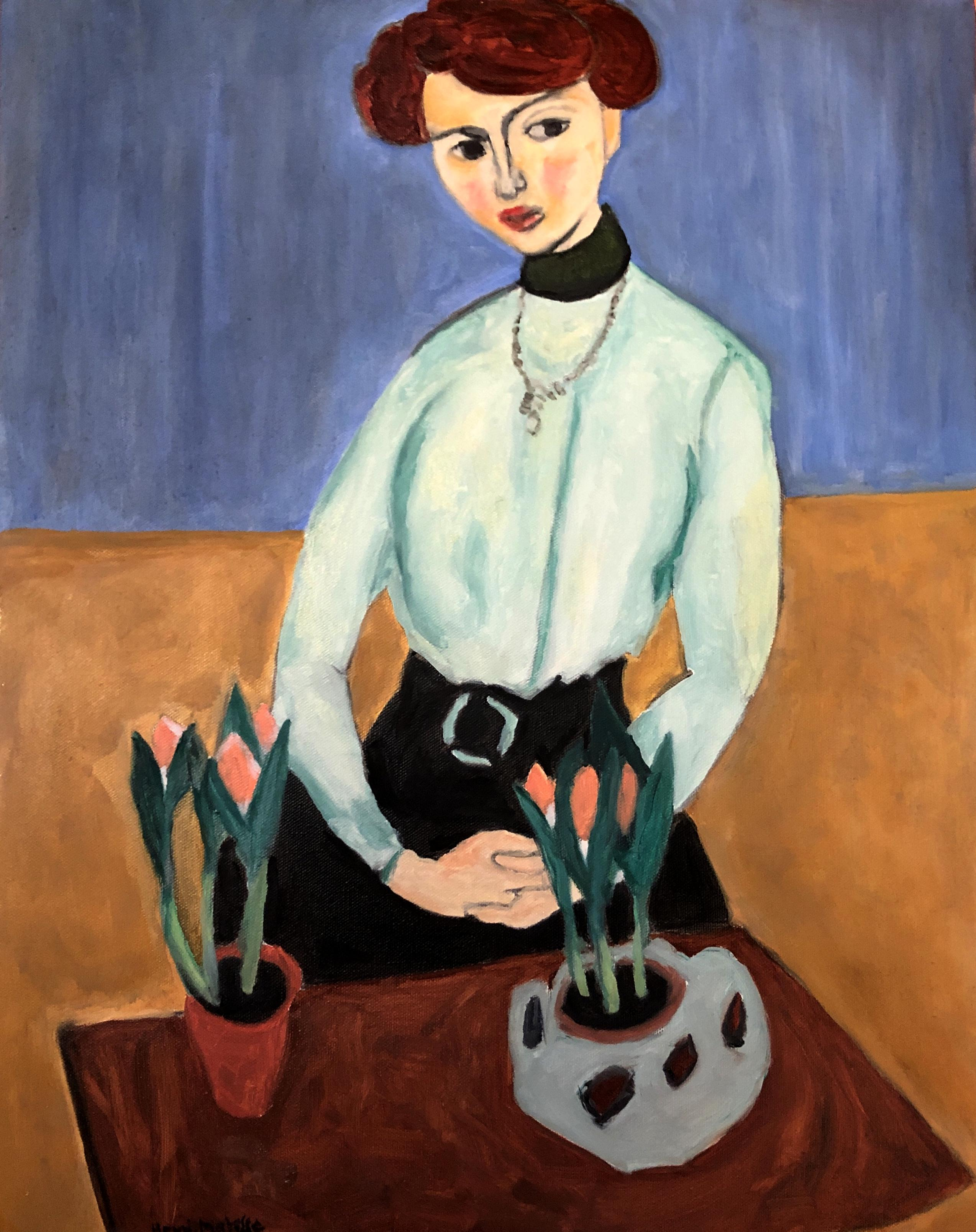 Lady with Matisse's Tulips