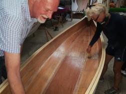 painting canoe with epoxy