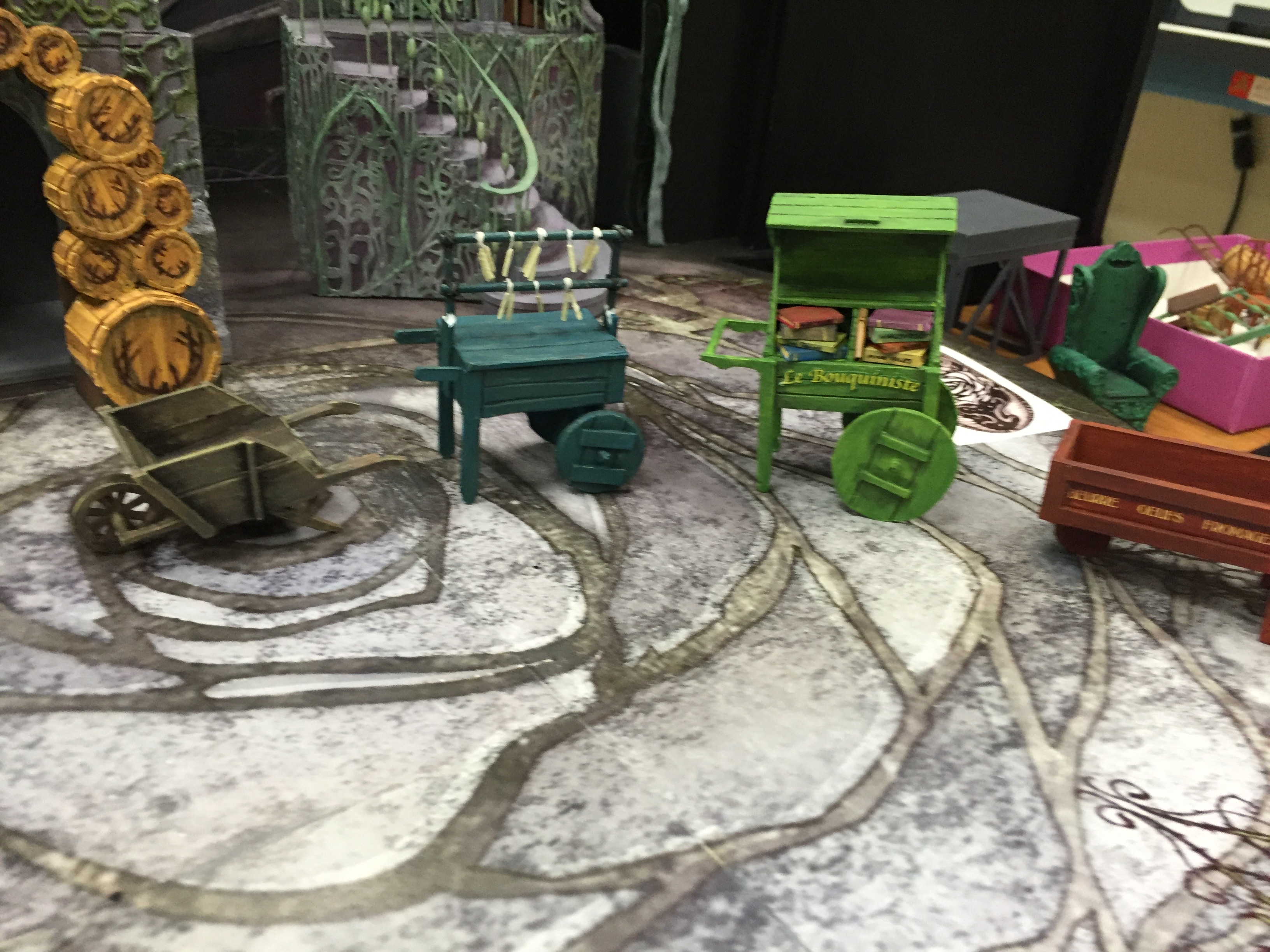 "1/2"" Scale Model Process Photo Vegetable, Candle, Book, and Dairy Carts"