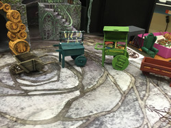 """1/2"""" Scale Model Process Photo Vegetable, Candle, Book, and Dairy Carts"""