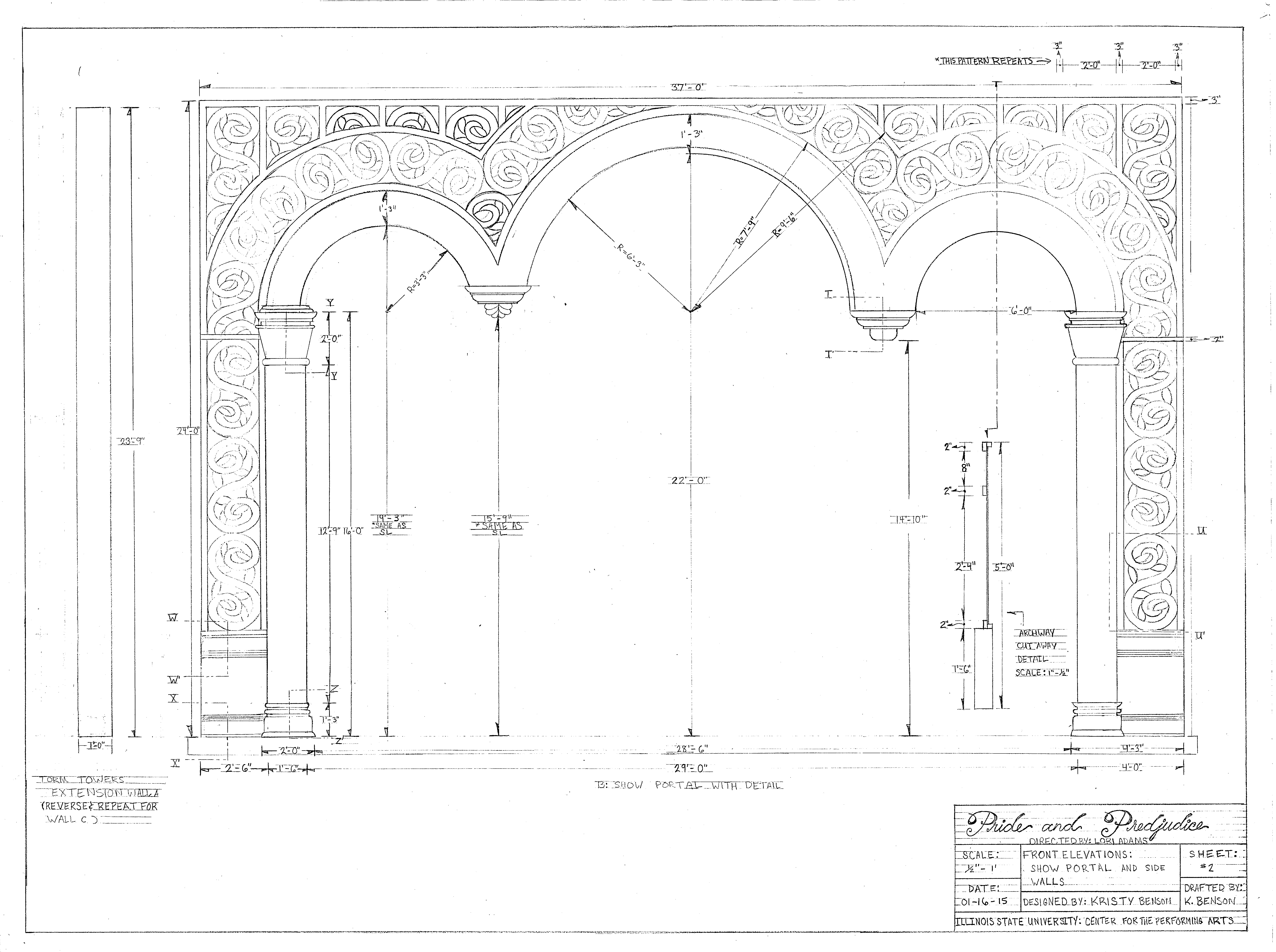 """1/2"""" Scale Hand Draftings for Show Portal"""