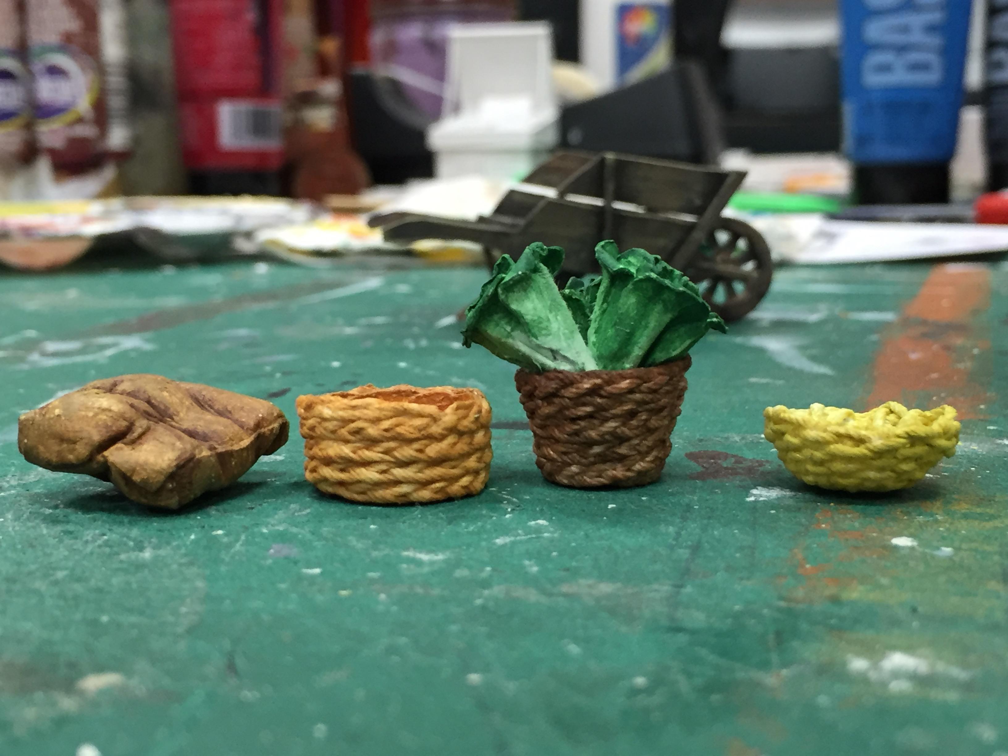 "1/2"" Scale Model Process Photo Vegetable Cart - Potato Bag, Tomato Basket, Lettuce Basket, and Carro"
