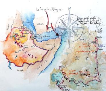 Carte du voyage Ethiopie