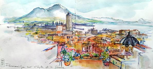 Panoramique sur Naples et le Vésuve
