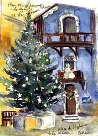 Maison bleue et sapin de Noël