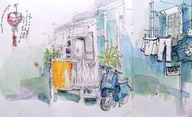 Scooter bleu à San Ferdinando