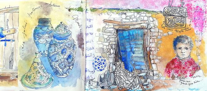 Objets et porte bleus