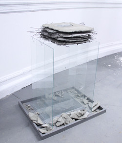 Glass Pedestal with Concrete Book