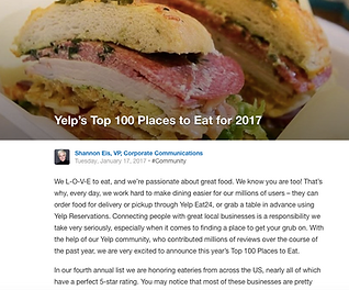 misc image of a sandwich for Yelp's top 100 places to eat in 2017