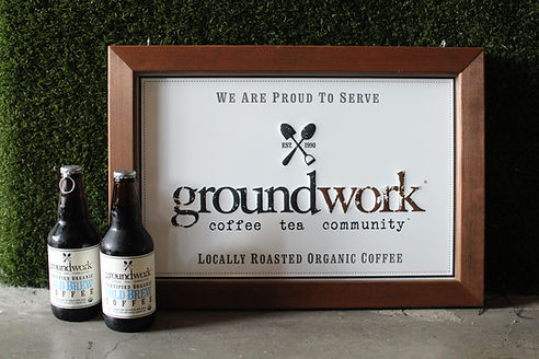 Merch page - image of groundwork photo of cold brewed coffee for sale