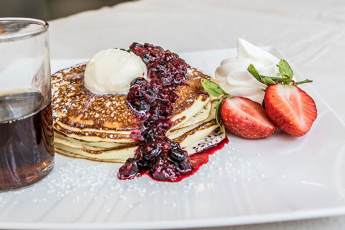 footer backgroun image of classic pancakes with jelly and butter