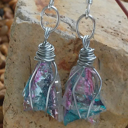 Turquoise & Pink Short Earrings Handmade Recycled CDs
